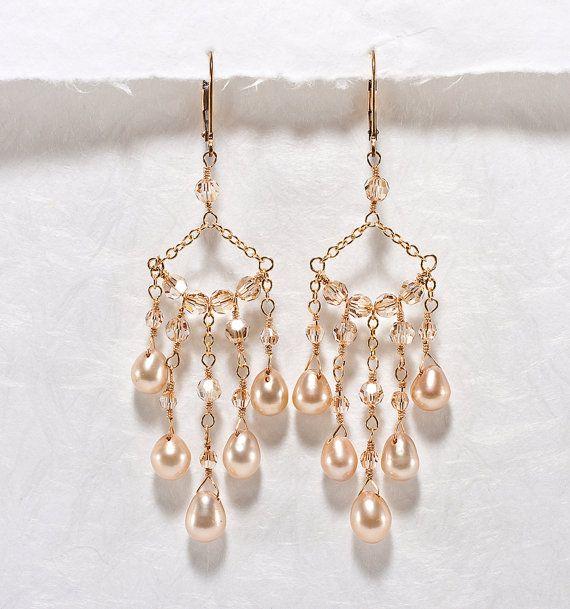 Crystal Chandelier Earrings, Champagne Wedding Jewelry, Crystal, Pearl Chandelier Bridal Earrings Gold
