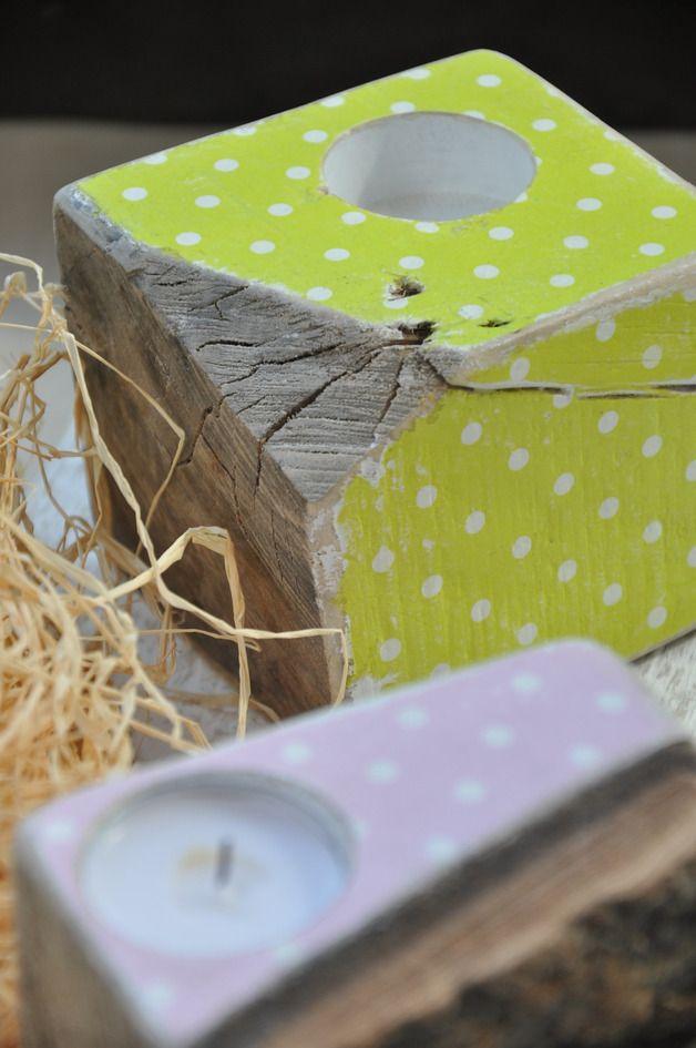Stare drewno w groszki - zielony świecznik - OLDTREE - Świeczniki