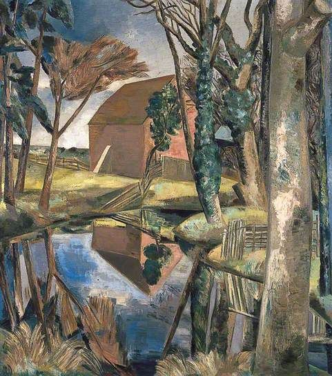 Oxenbridge Pond / Paul Nash / 1927-28 / oil on canvas / like this angular landscape