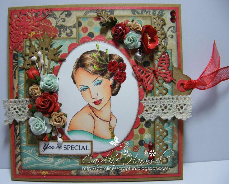 Digi stamp 'Cameo 11' coloured with Copics: Skin: E0000, E000, E01, E11, E13, E93, E95 Hair: E30, E33, E35, E39, E49 Mouth: R14, R17, R27 Eye Shadow: BG10, BG11, BG13 Roses: R24, R27, R46, R59, YG01, YG03, YG06 Dress: BG11, BG32, BG34, BG57