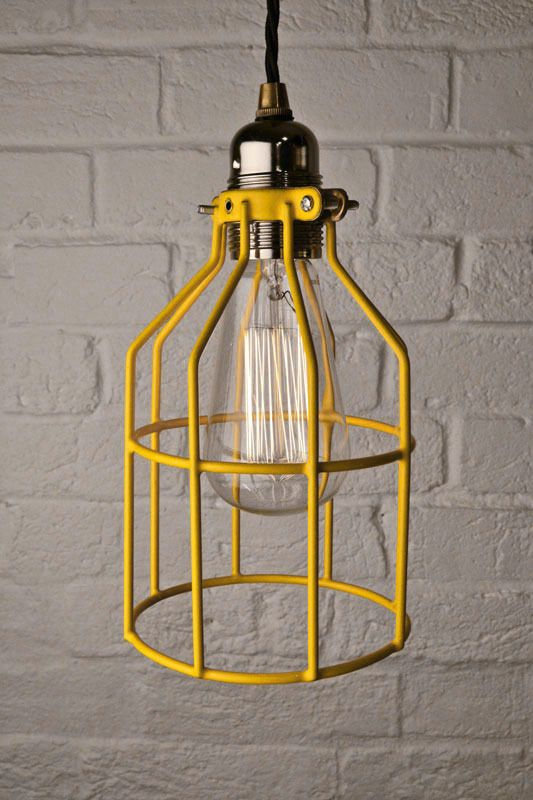Industrial Cage Pendant Light Yellow 014 By Artifact