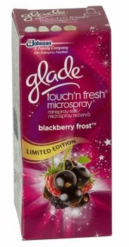 Glade Touch N Fresh Refill 10ml Blackberry Frost Limited Edition To be used in the Glade touch n fresh holder.  A Long lasting smell to freshen up your day!