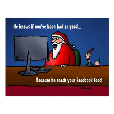 He Knows If You've Been Bad Santa Postcards - click/tap to personalize and buy