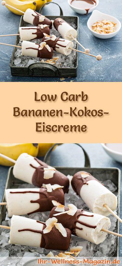 Rezept für Low Carb Bananen-Kokos-Eis - ein einfaches Eisrezept für kalorienreduzierte, kohlenhydratarme und gesunde Eiscreme ohne Zusatz von Zucker ...
