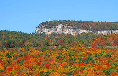 The 'Gunks'. The Shawangunk Ridge in New Paltz, NY where rock climbers come from around the world to scale the sheer granite cliffs. Great hiking here, especially in the Fall.