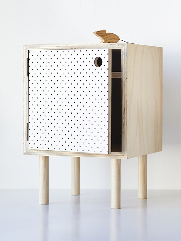 Bedside Table U2013 Ply And White Pegboard Home Base Collections