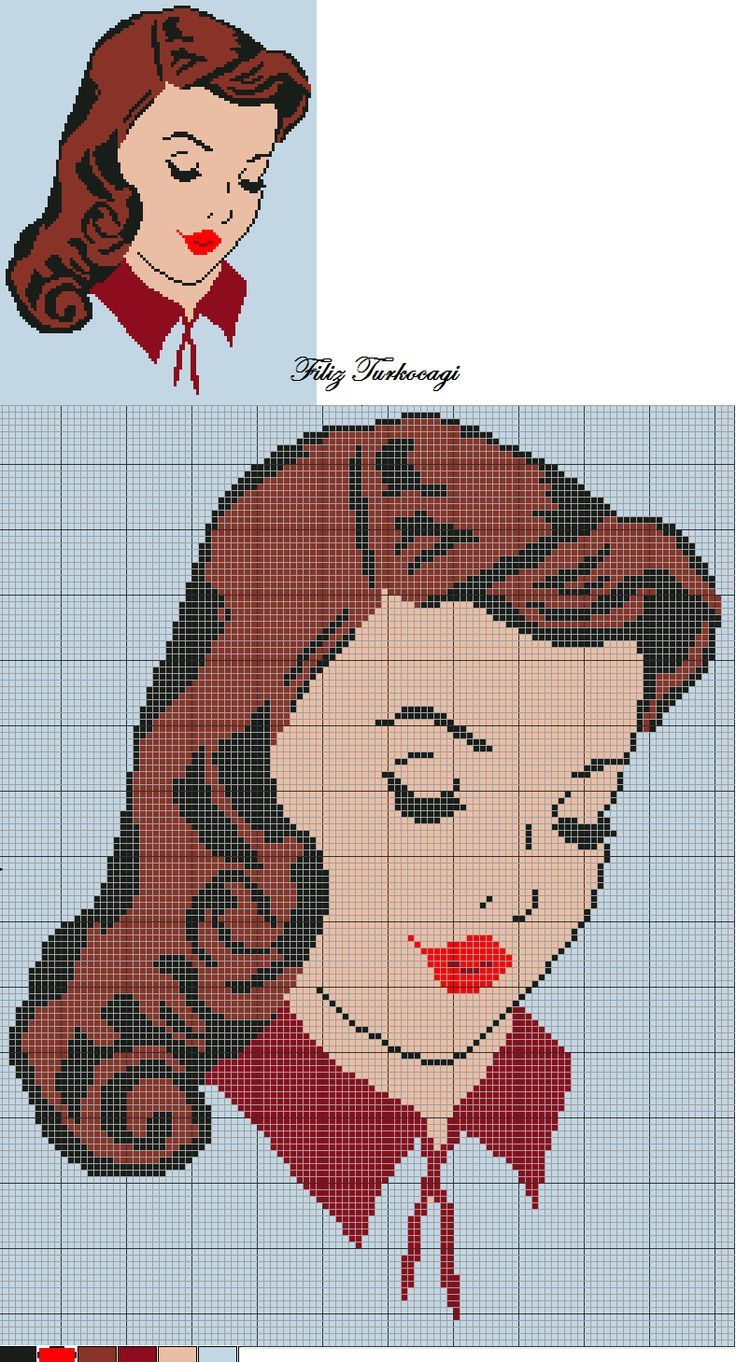 0 point de croix visage - cross stitch 180