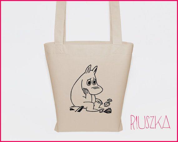 Moomins bag funny tote bag cotton tote canvas bag eco by RIUSZKA