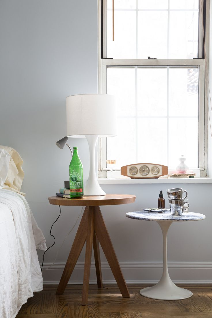 Wood Side Table: Crate & Barrel (2011). White Side Table: vintage, gift from friend (fake Saarinen).