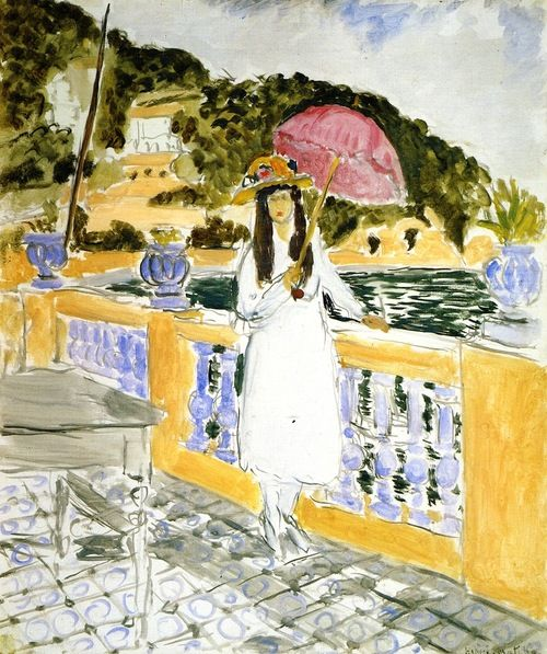 On the Terrace, Girl with Pink Umbrella - Henri Matisse 1919