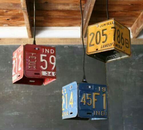Hanging lights made from old licence plates! Very cool