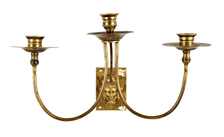 Vintage Medusa Triple Candle Sconce