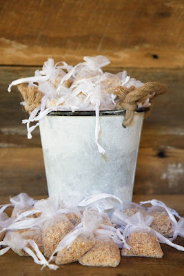 Birdseed to toss at outdoor wedding. Will they object to feeding the birds at Little Log Home? haha -bp-