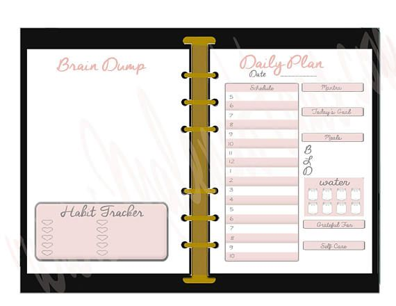 Double Sided Day On Two Pages Insert for Personal Size Planner - Printable Pink Daily Insert for Louis Vuitton MM Agenda or Personal Planner  Inserts are 4.15 in. wide. When you receive your download, it will be in a PDF format that is Double-Sided Friendly. Instructions on how to print double sided can be found here: https://youtu.be/hiU8jr3cr7g