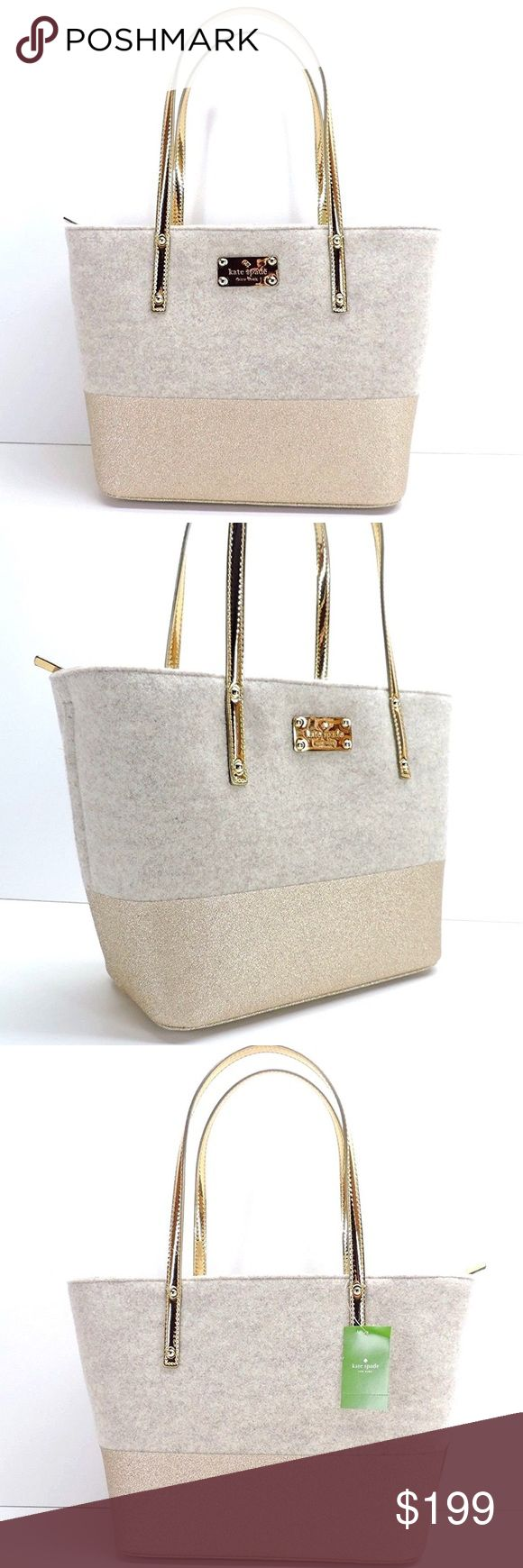 """NWT Kate Spade frosted felt harmony gold/oatmeal Brand new with tags!Description Authentic Kate Spade Frosted Felt Small Harmony in oatmeal frosted felt with gold sparkle accents and gold metallic faux leather trim. Features & details Measurements: 9.8"""" H x 5.5"""" D x 11.4"""" L Drop: 9"""" Interior Description: Tote- unlined felt, wristlet lining -Capital kate jacquard Exterior Details: Embossed Kate Spade New York logo plate, goldtone hardware kate spade Bags Totes"""