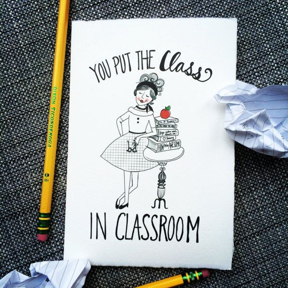 For the teacher who outclasses them all! Each card is individually printed by me on imported 96lb. paper made in the centuries old Italian tradition of mould made papers, handcrafted to display an art