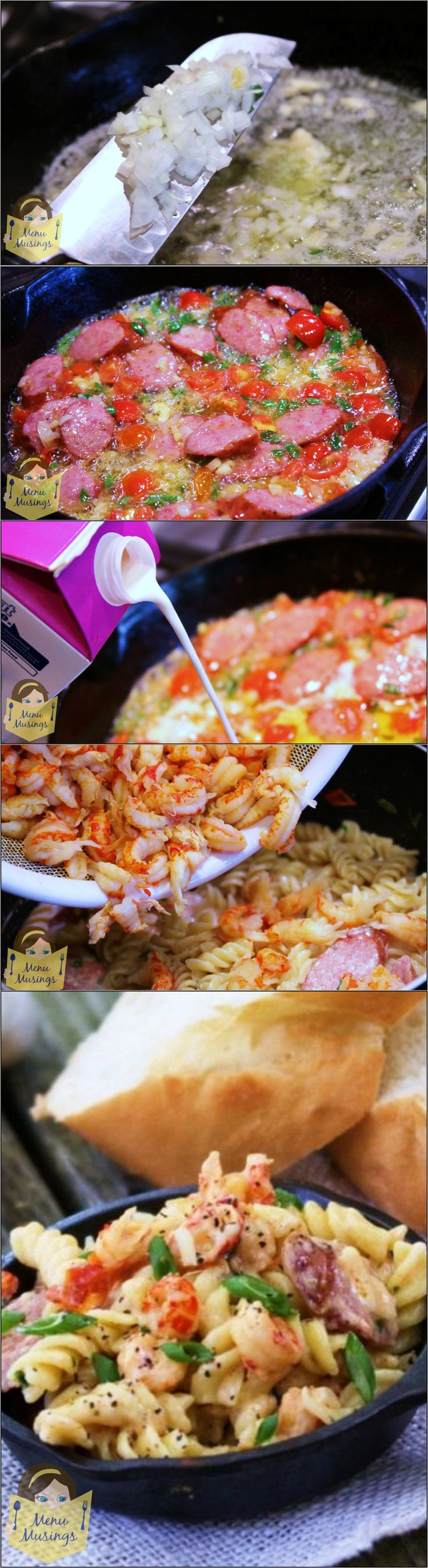 "Crawfish Monica - our favorite dish from the New Orleans Jazz Fest in a step-by-step ""make at home"" version!  It's creamy, spicy as you want it to be, and way jazzy!  Sub chicken if you are allergic or adverse to seafood."