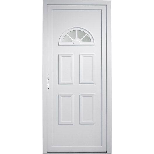Porte entrée maison PVC Elegance PRIMO, blanc poussant droit, H215 x l90cm #matériaux #menuiserie #bois #travaux #amenagement #magasin #leroymerlinguérande #Guerande #loireatlantique #bricolage #catalogue #maison #france
