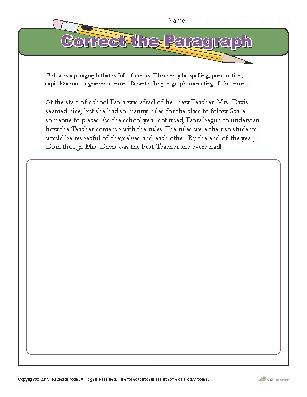 4th Grade Paragraph Editing Worksheets - 2nd grade ...