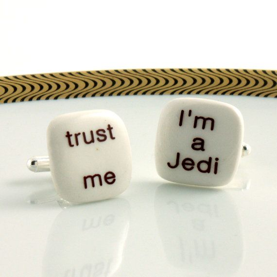 Jedi Cuff links Porcelain Trust Me Fun Handmade Gift Present Men White Brown Funny