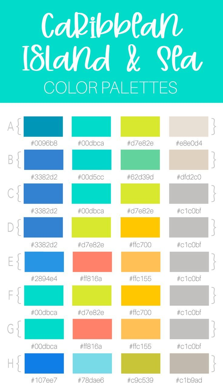 8 Beach Caribbean Island And Sea Themed Color Palette