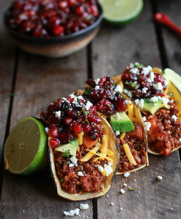 Vegetarian bonfire night recipe Chipotle-Quinoa-Sweet-Potato-Tacos-with-Roasted-Cranberry-Pomegranate-Salsa