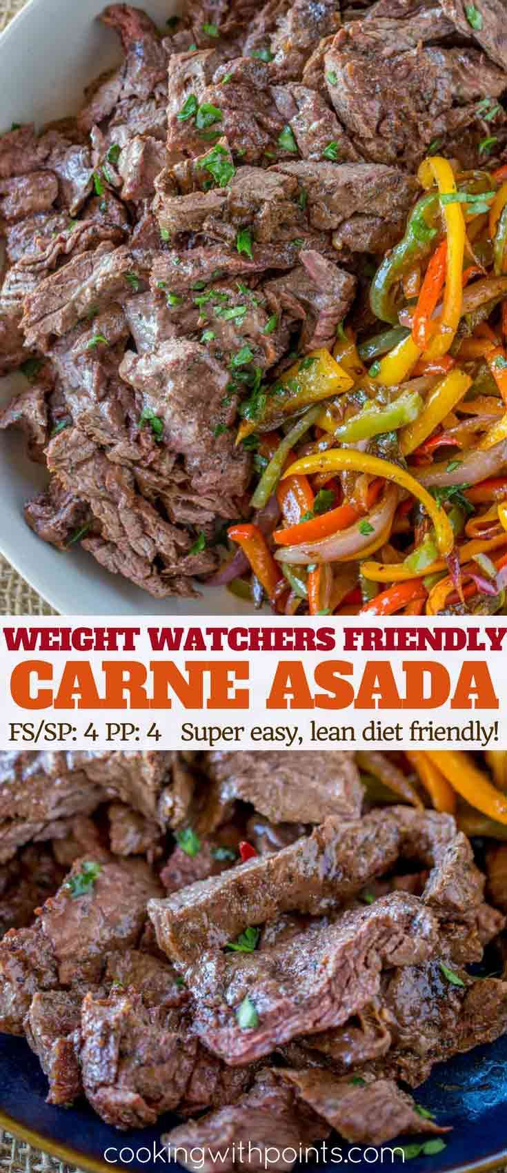 Skinny Carne Asada with lean flap meat is marinaded with a soy vinegar sauce and grilled for a tender, lean Mexican restaurant favorite with just 4 smart points per serving for an easy weight watcher friendly meal.