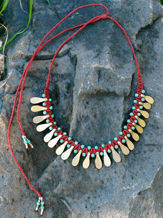 collar tribal turquesa collar de oro collar por yasminsjewelry