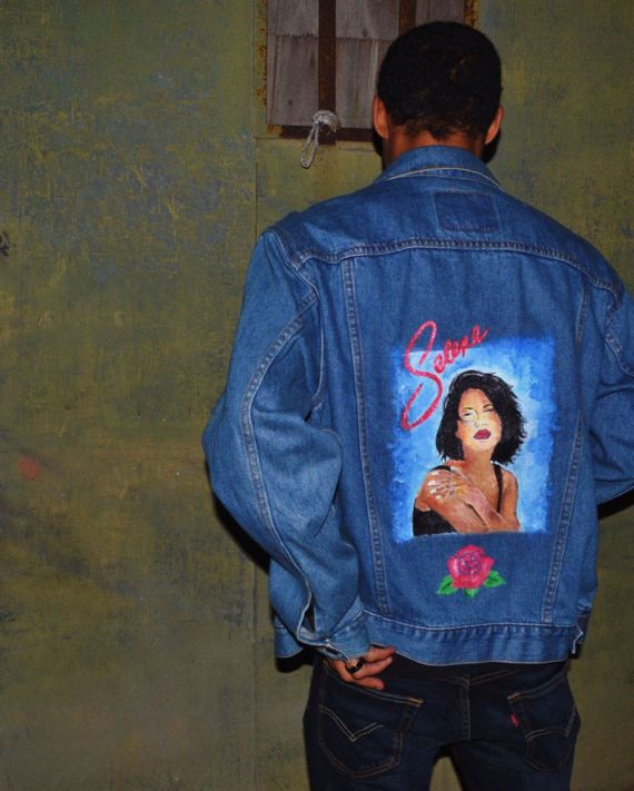 Hand Painted Selena Quintanilla Denim Jacket By