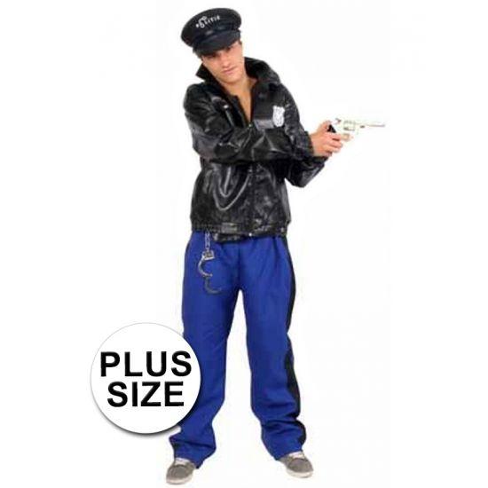 3-delig grote maten politie agent kostuum voor heren. Politie kostuum, bestaande uit de politie jas, de politie broek en de politie riem. Het materiaal van dit politie agent kostuum is 100% polyester. Agenten pak exclusief pet en accessoires.