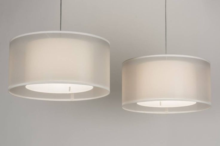 Hanglamp 30652 modern wit stof rond langwerpig