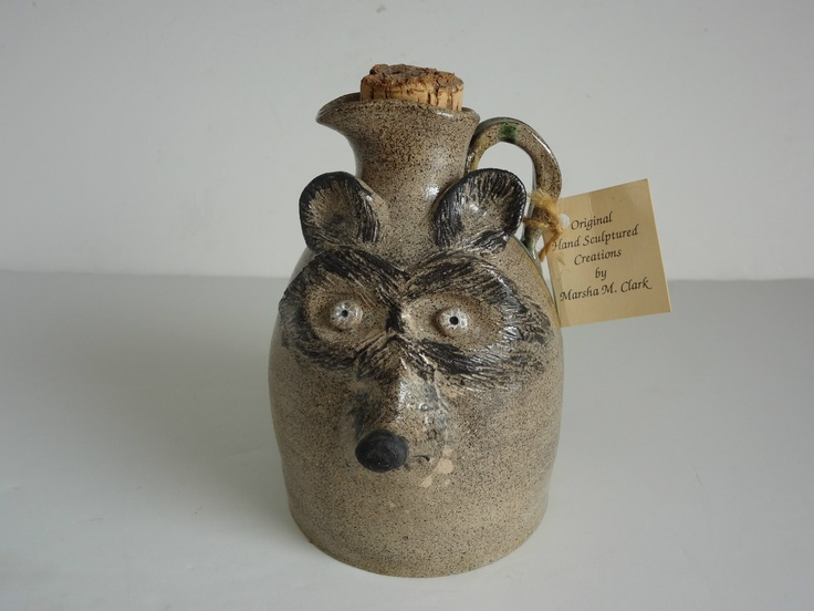 Vintage Signed MARSHA CLARK South Carolina STONEWARE Raccoon FACE JUG | eBay