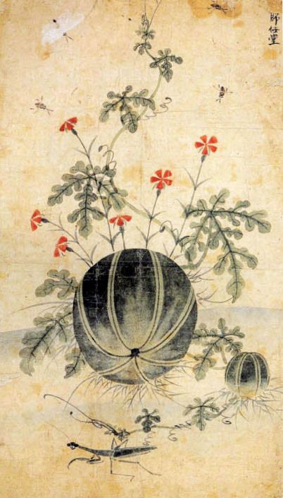 (Korea) Water Mellon by Lady Shin Saimdang (1504-1551). ca 16th century CE. colors on paper.