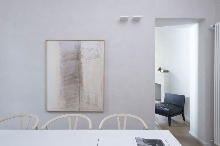 Apartment: Simply Brilliant Apartment In Piacenza Designed by Studio Blesi Subitoni, Simple Apartment Dining Room Decoration in Piacenza showing Abstract Painting Decorated on Beige Wall Color