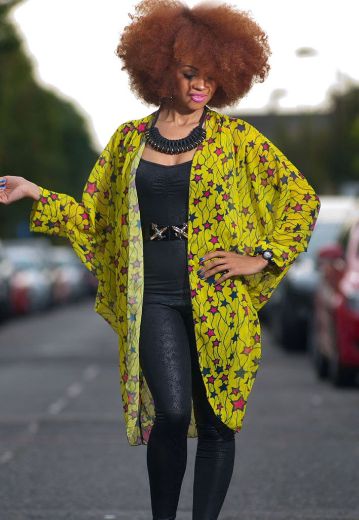Stunning Tóté African star print yellow chiffon kimono. At long last African Print is now available in beautiful flowing chiffon £30