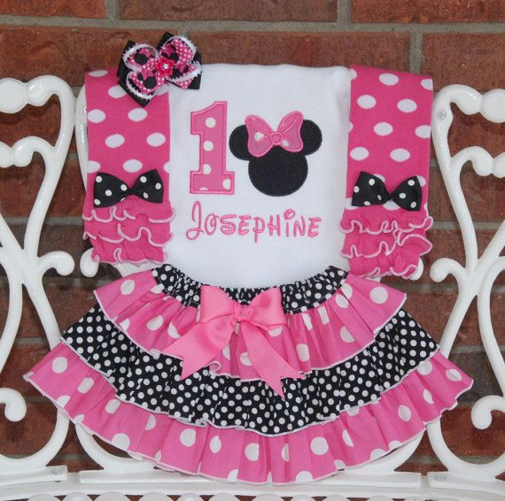 4 pc. Minnie Mouse Birthday Outfit Minnie Mouse by RuffleDarlings
