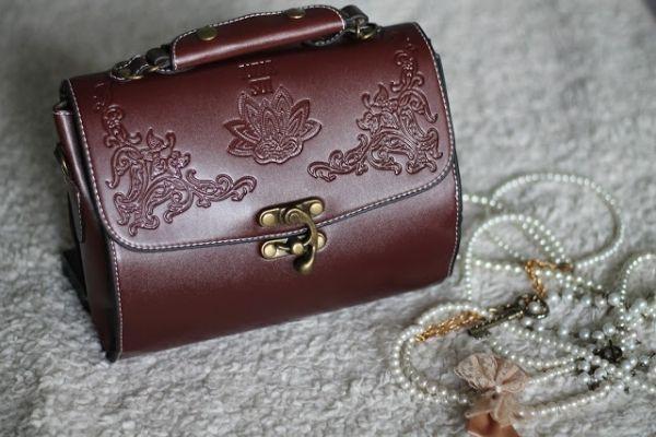 Vintage Flower Embossed Shoulder Bag with Hook and Eye Fastening OASAP.com
