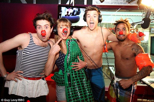 Nick Grimshaw, Sara Cox, Greg James and Dev all wore their swimwear after raising £10,000 for Comic Relief