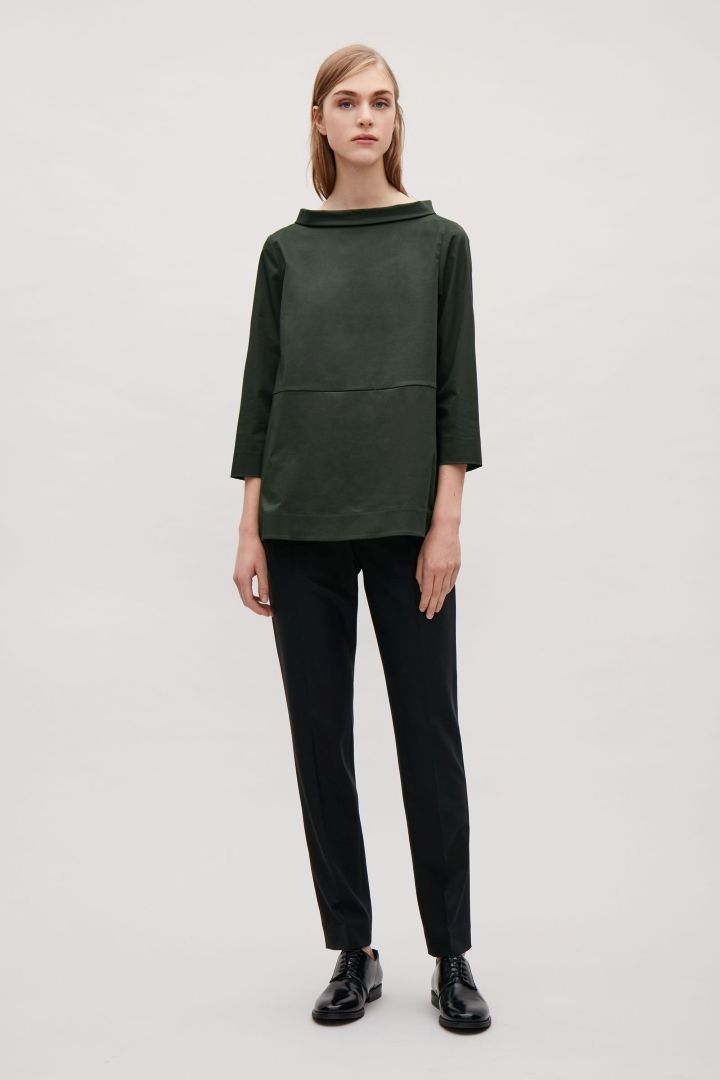 COS image 6 of Wide-neck top in Olive Green