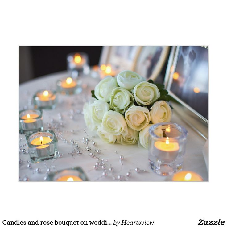 Candles and rose bouquet on wedding invitation | Zazzle.com – Andrea Smith