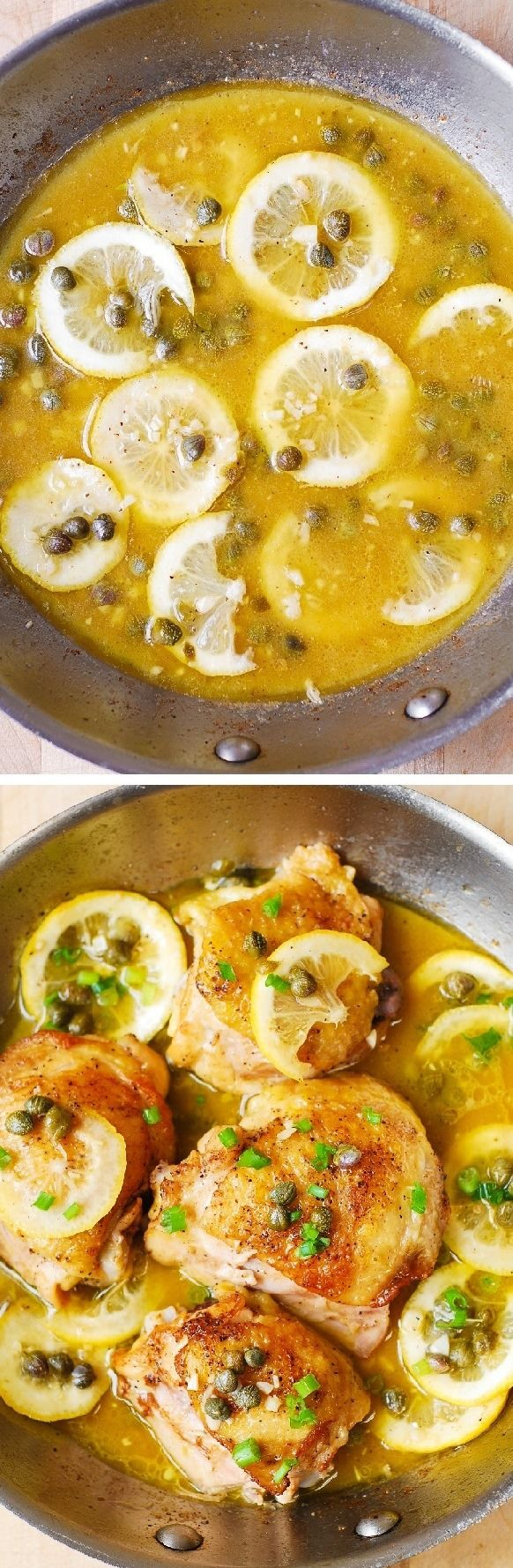 Pan-fried chicken thighs with garlic, lemon, and capers in a juicy chicken broth.