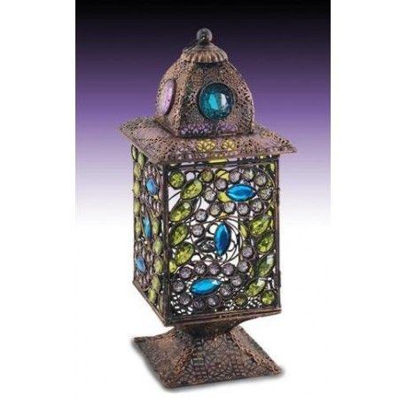 Lámparas juveniles con cristales de colores. Farol indio con colores verde y azul. Envío rápido y seguro. Ofertas