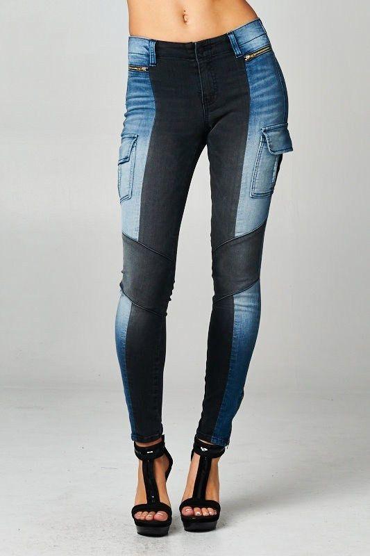 Dashing Denims Two Tone Moto Cargo Skinny Jeans w/Front Gold Zipper!