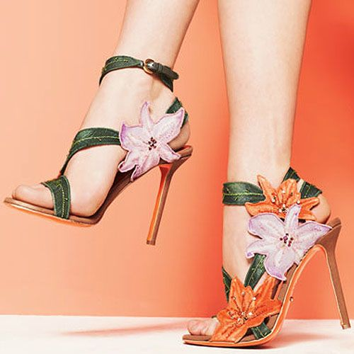 Sergio Rossi 'Chloris' Orange Flower Printed Canvas Sandal