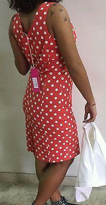 Vestito donna pois rosso bianco Minnie festa elegante ballo taglia occasione top