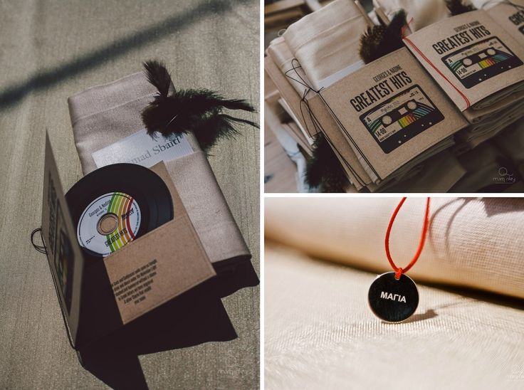 Wedding favors! Couple's greatest hits written in vinil disks and hanging neck charms with guest's names! Private villa in Mykonos by De Plan V!