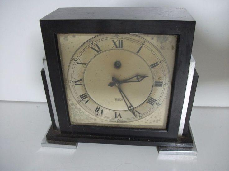 Art Deco Bakelite + Chrome Steel Mantle Piece Electric Clock by Smiths 1930-40s