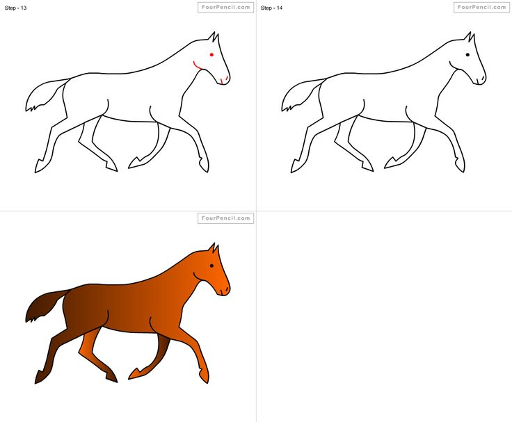 How to draw Horse for kids step by step drawing tutorial ...