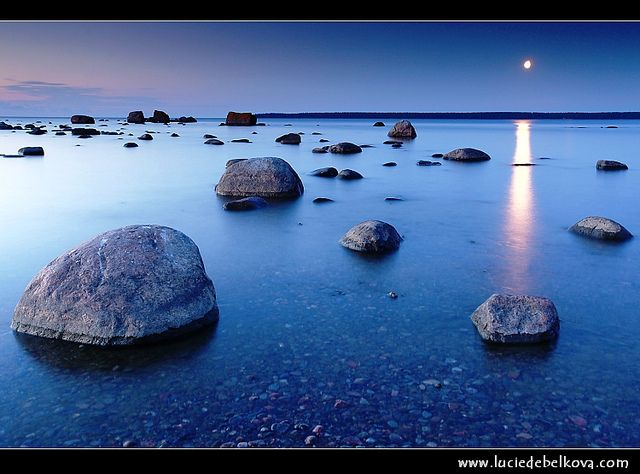 Estonia - Lahemaa National Park - Moon Rise over Boulders in Käsmu at Gulf of Finland - Baltic cost