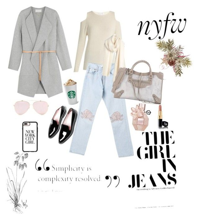 """street style nyfw"" by nurardisa on Polyvore featuring Velvet by Graham & Spencer, Casetify, Bliss and Mischief, Madewell, Vanessa Bruno and Balenciaga"